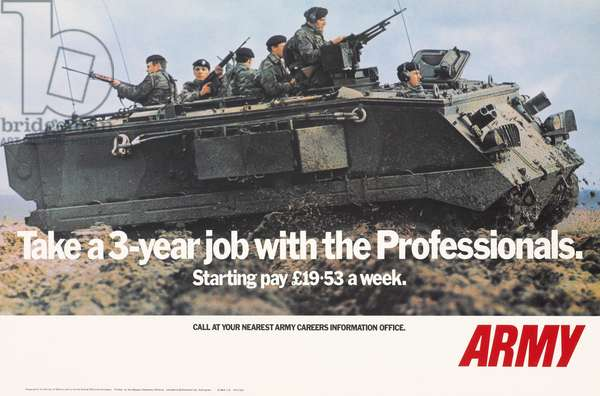 Take a 3-year job with the Professionals, Starting pay £19.53 a week, 1972 (photolitho)
