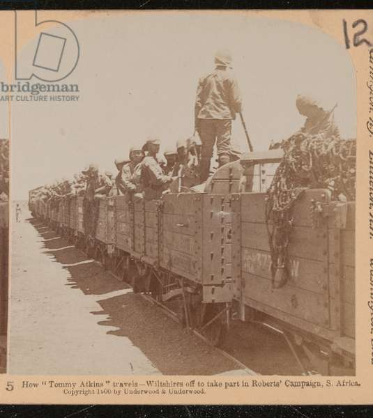 British soldiers aboard railway wagons, 1900 circa (b/w photo)