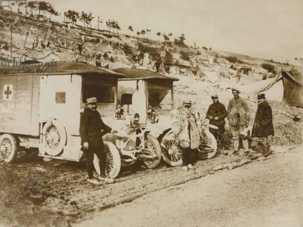 Red Cross vehicles and soldiers at the Front, 1914-18 (b/w photo)