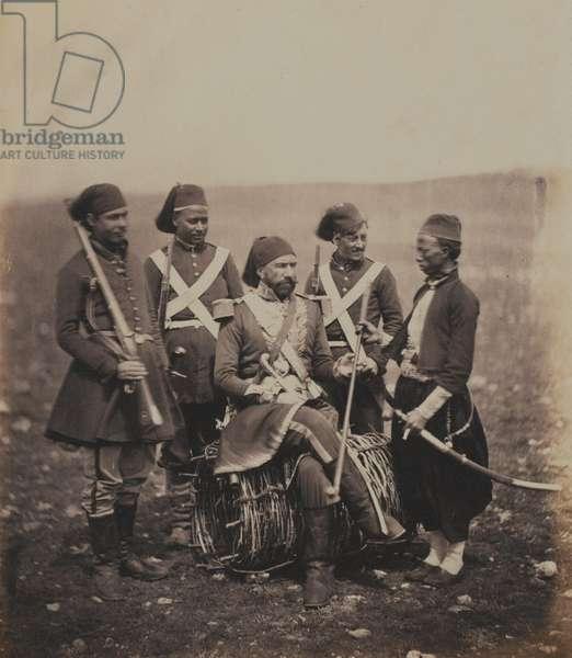 Ismail Pasha (1830-95) and Attendants (b/w photo)