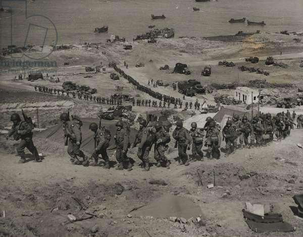 Reinforcements Arrive in Normandy, 1944 (b/w photo)