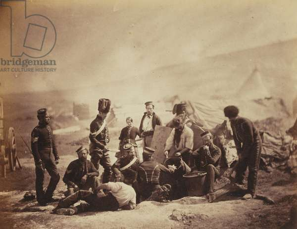 Cooking House of the 8th (The King's Royal Irish) Light Dragoons (Hussars) from an album of 52 photographs associated with the Crimean War, 1855 (b/w photo)