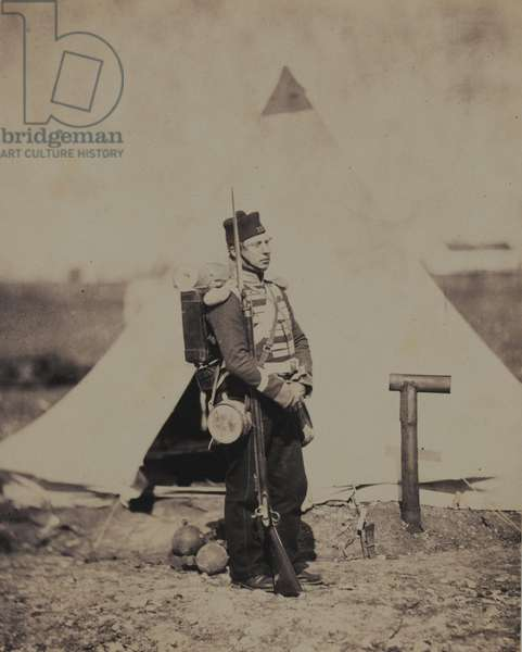Private of the 28th (North Gloucestershire) Regiment of Foot in Full Marching Order, from an album of 52 photographs associated with the Crimean War (b/w photo)