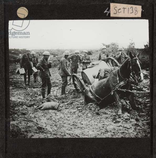 Horse-drawn water cart stuck in the mud, St. Eloi, 11 August 1917 (lantern slide)