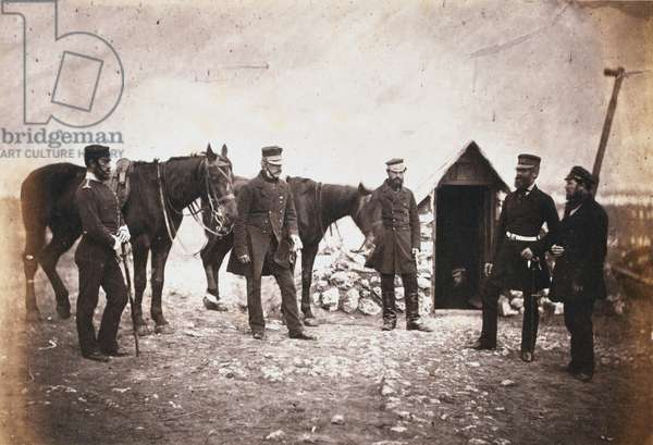 Major General Robert Garrett and Officers of his Staff, from an album of 52 photographs associated with the Crimean War (b/w photo)