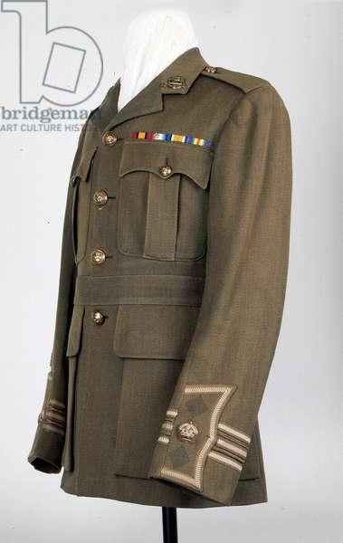 Service dress tunic worn by Major Owen Crawshay, 3rd Battalion The Duke of Wellington's (West Riding Regiment), 1918 circa (fabric)