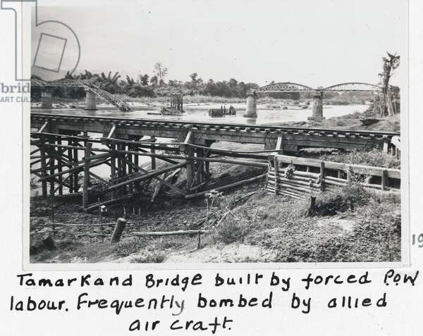 Tamarkand Bridge built by forced POW laqbour, 1945 (b/w photo)
