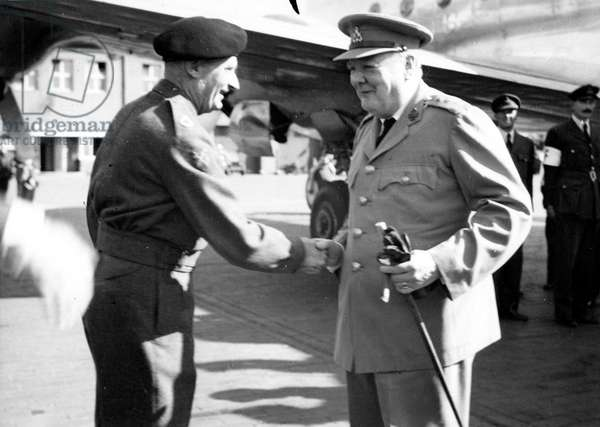 Field Marshal Montgomery greeting Prime Minister Churchill on his arrival at Gatow Airfield for the Potsdam Conference, 1945 (b/w photo)