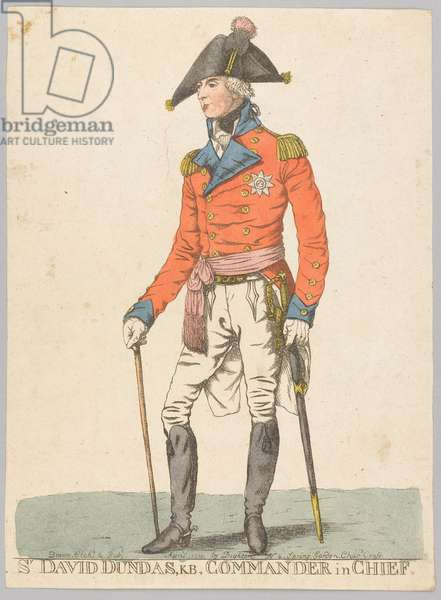 Sir David Dundas, KB, Commander in Chief (etching, coloured)