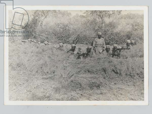 King's African Rifles manning a trench, viewed from front, 1939 circa (b/w photo)