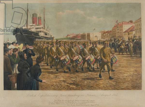 The British Expeditionary Force Landing in France, August 1914 (photolithograph)