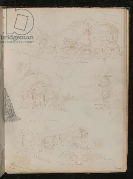Studies of a horse drawn carriage with rider crossing a stream, entering a tunnel, study of a peasant woman (pen and ink)