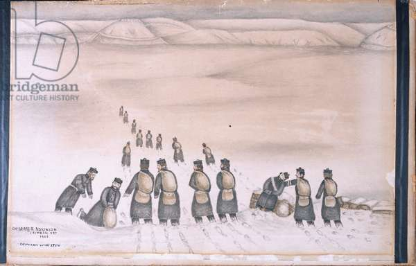 Soldiers in the snow, 1854 circa (w/c)