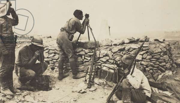 British Gunners at a forward O.P in a front line trench with the Armenians (b/w photo)