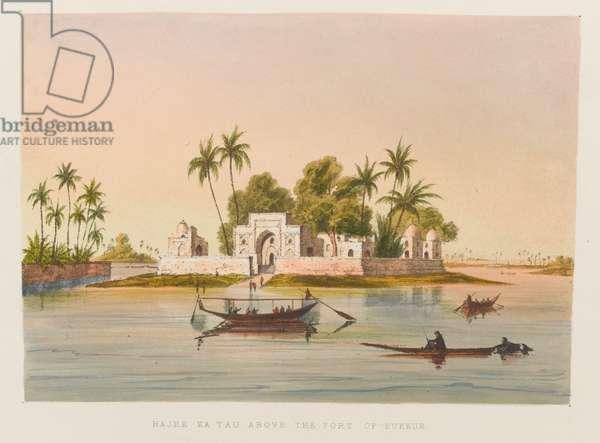 'Hajee Ka Tau Above the Port of Bukkur', 1838 circa (coloured lithograph)