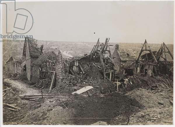 Ruins in Combles,1918 (b/w photo)