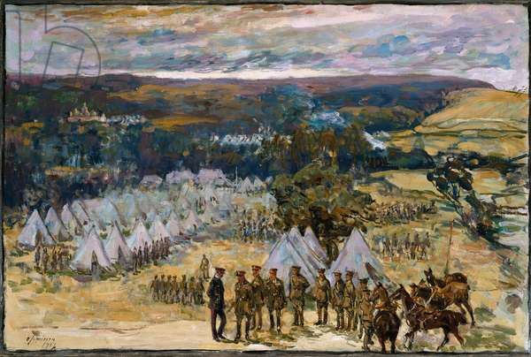 Field Marshal Lord Kitchener inspecting the 10th Battalion, York and Lancaster Regiment at Halton, 1914  (oil on canvas)
