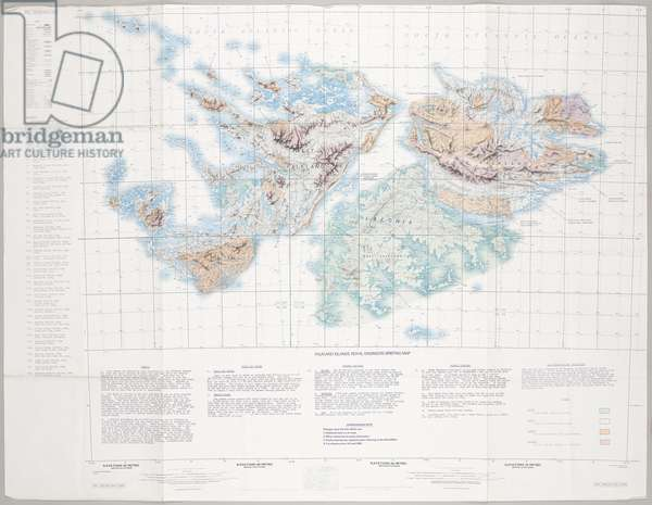 Falkland Islands Royal Engineer briefing map, c.1982 (colour litho)