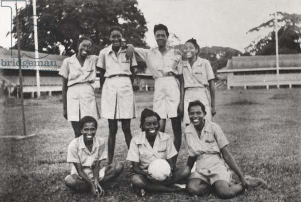 The West Indies Auxiliary Territorial Service net ball team, c.1943 (b/w photo)
