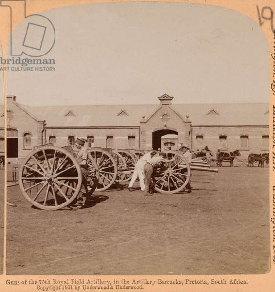 Guns of the 75th Royal Field Artillery, Pretoria, South Africa, 1899 (b/w photo)