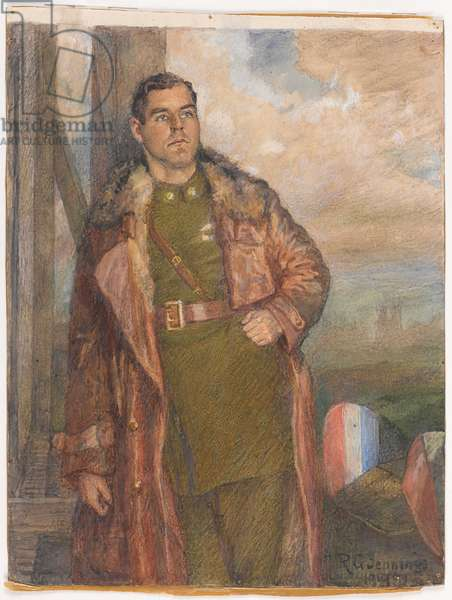 Major Oliver Stewart, MC (formerly 9th Battalion Middlesex Regiment) Royal Flying Corps, 1918 circa. (w/c)