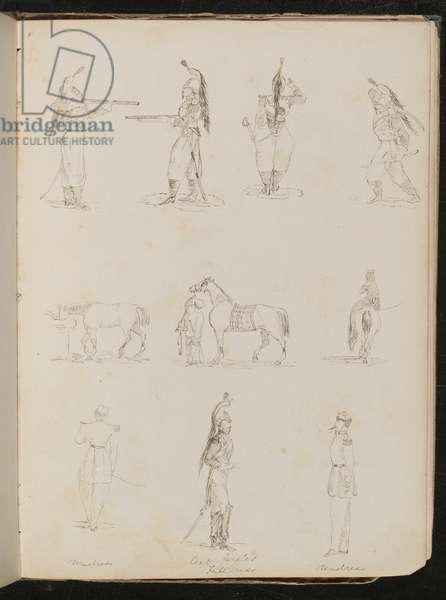 Ten studies of soldiers, horses, woman riding side-saddle (pen and ink)