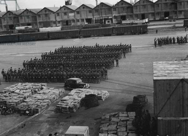 Regimental parade on quayside', 3rd County of London Yeomanry (Sharpshooters), Cape Town, South Africa, en route to Egypt, 1941 (b/w photo)
