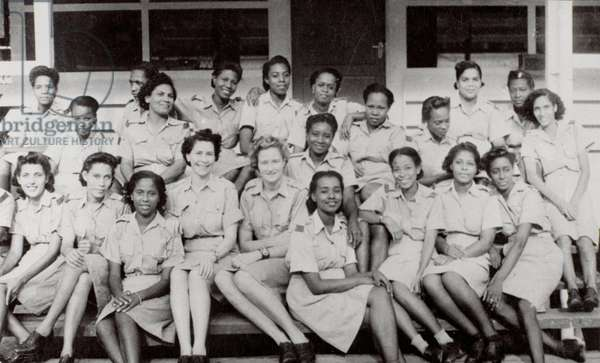 Group portrait of a West Indian detachment of the Auxiliary Territorial Service, 1943 (b/w photo)