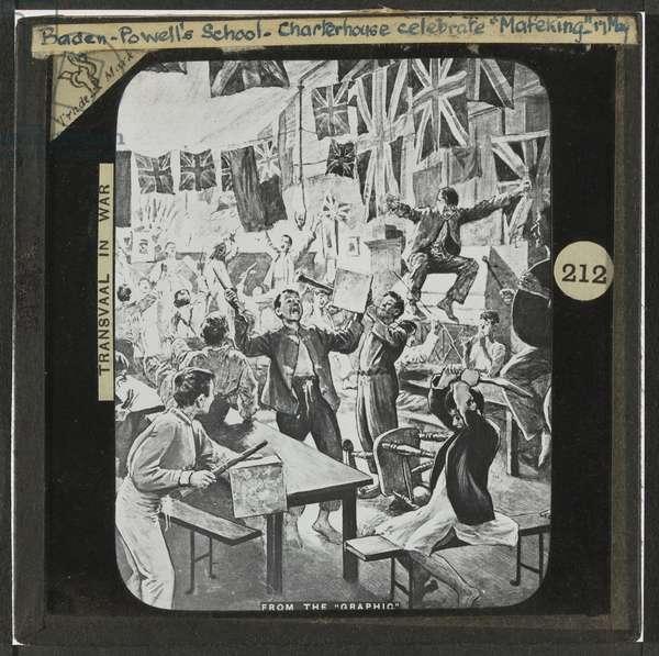 Lantern slide of pupils at Charterhouse, Baden Powell's school, celebrating the relief of Mafeking, 1900 (litho)