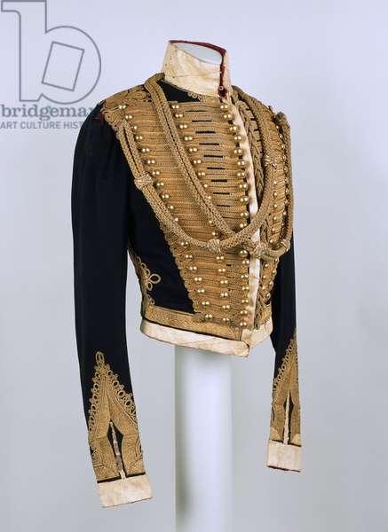 Officer's pelisse, Lieutenant Walter Stephens Brinkley, 11th (Prince Albert's Own) Hussars, 1848 circa (fabric)