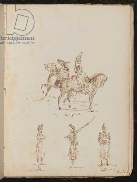 Two soldiers on horseback inscribed 'The Cert gardes', studies of artillery and infantry soldiers (pen and ink)