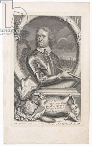 '1653 Oliver Cromwell Lord Protector of England Scotland and Ireland' (line engraving)
