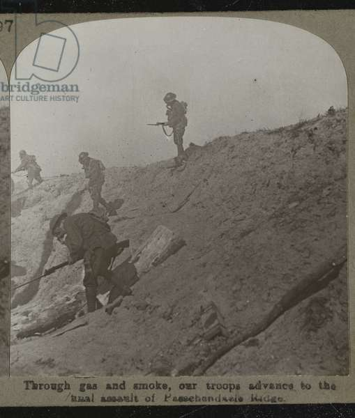 Stereoscopic photograph: 'Through gas and smoke, our troops advance to the final assault of Passchendaele Ridge', 1917 (b/w photo)
