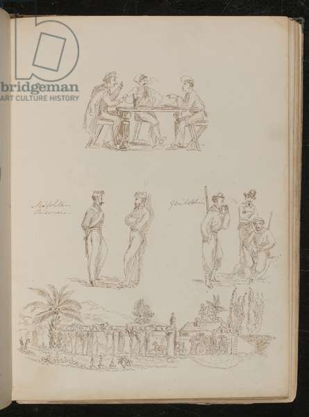 Three soldiers playing cards, two 'Neopolitan Prisoners' in conversation, three 'Garibaldians' at ease and smoking, a Genoese villa (pen and ink)