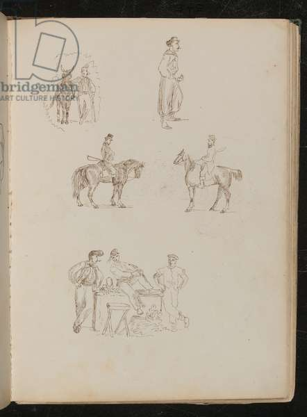 Studies of male figures with horses, study of soldier smoking and with sword, study of three fruit sellers with stall (pen and ink)