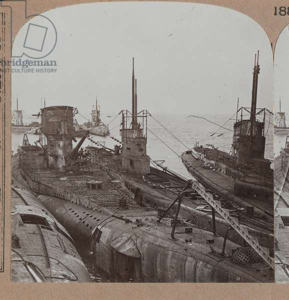 'Fleet of murderous 'U' boats, the greatest menace that ever faced our Empire, surrender at Harwich', 1918 (b/w photo)