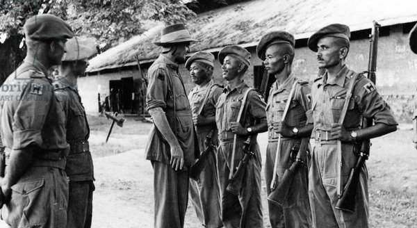 Major General Sir Frank Messervy inspecting Indian Army troops in Burma, 1944 (b/w photo)