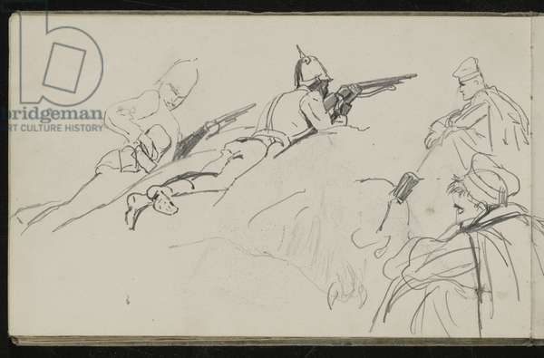 Possible study for 'Dawn of Waterloo', 1893 (pencil on paper)