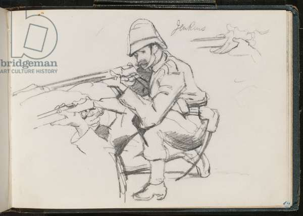 'Jenkins' kneeling to fire, 1879 (pencil)
