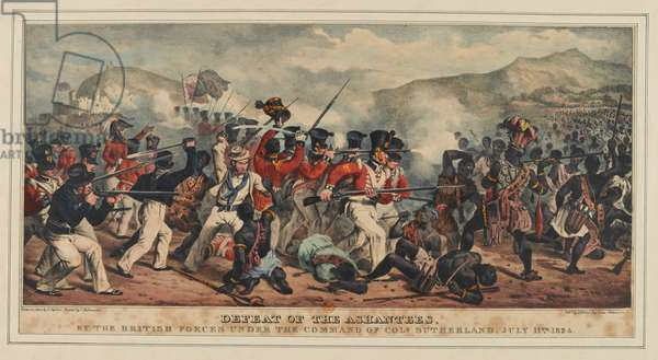 Defeat of Ashantees by the British forces under the command of Colonel Sutherland, 11th July 1824, published by J. Ronis, 1825 (colour litho)