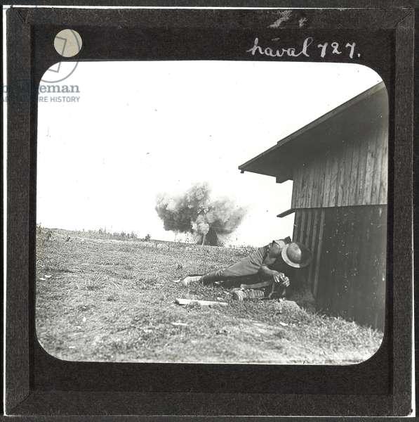 Shell burst, 25 August 1918 (lantern slide)