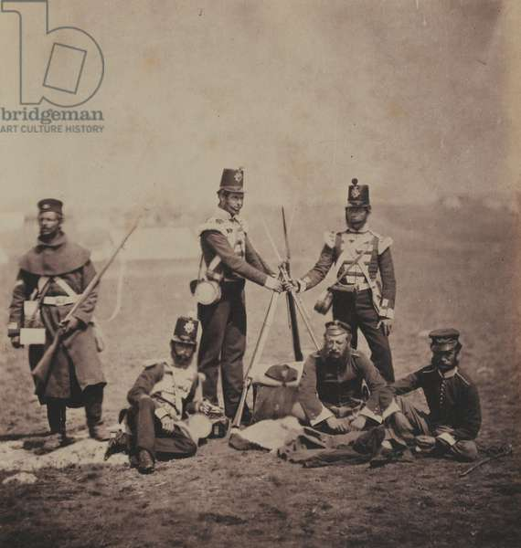 Officers and Men of the 3rd (East Kent) Regiment of Foot (The Buffs) from an album of 52 photographs associated with the Crimean War, 1855  (b/w photo)