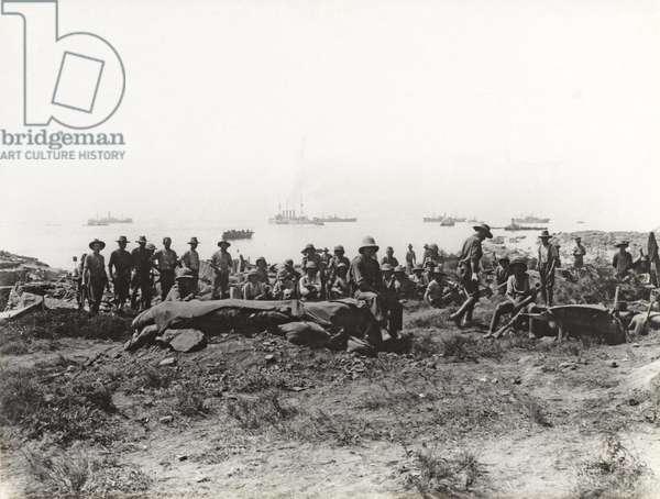 'Suvla Bay, 6th Aug,' Soldiers at Anzac Cove, Gallipoli, 1915 (b/w photo)