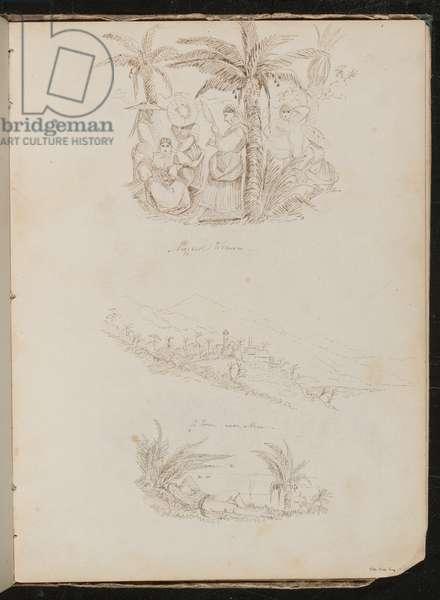 Three studies of men and women (pen and ink)