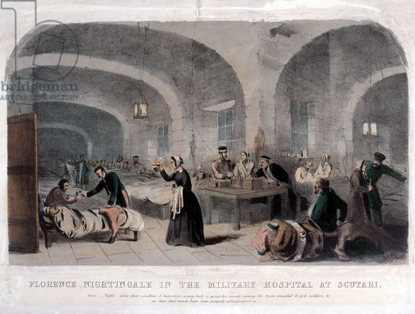Florence Nightingale (1820-1910) in the Military Hospital at Scutari during the Crimean War, 1856 (colour litho)