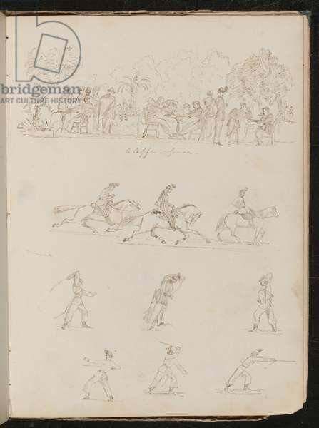 Eight studies of soldiers, including soldiers at an outdoor café inscribed 'a caffe sense' (pen and ink)