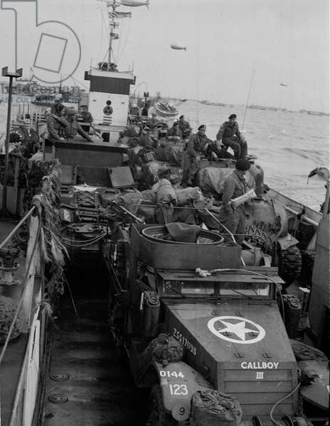 'Our LCT just after loading', June 1944 (b/w photo)
