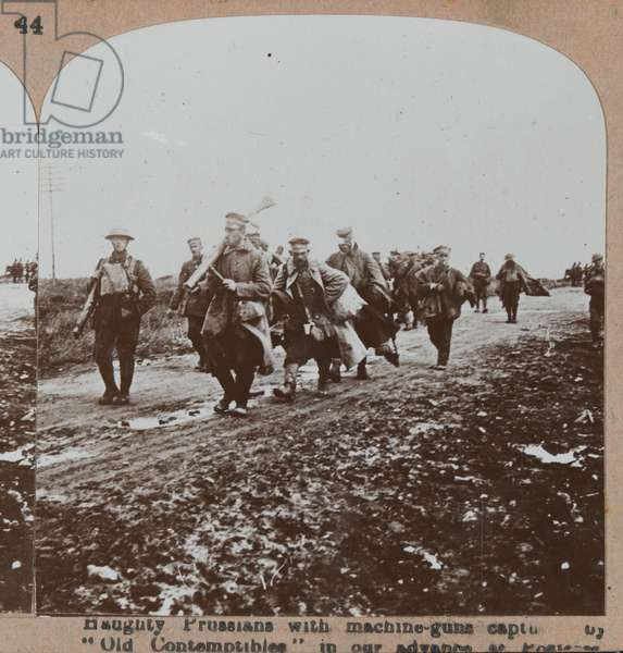 'Haughty Prussians with machine-guns captured in our advance at Pozieres', 27 August 1918 (b/w photo)