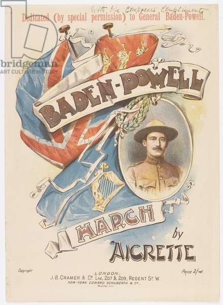 Front cover of Baden-Powell March, sheet music, 1900 (colour litho)