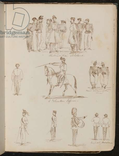 Studies of eight soldiers inscribed 'Piedmontese soldiers', 'a Volunteer Officer', two 'French soldiers at the Line' (pen and ink)